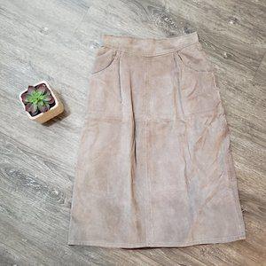 Jordache Vintage Genuine Suede Skirt Grey Sz S